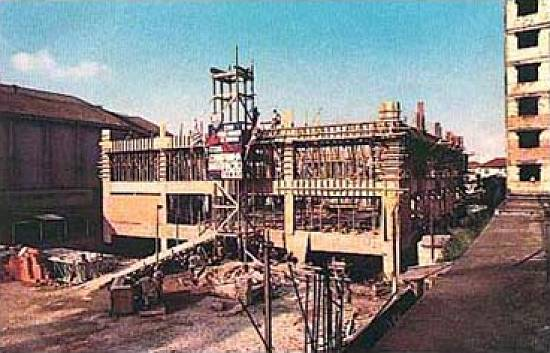 Construção da sede social, que seria inaugurada em 1976